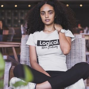 Tops - Logical when drinking white graphic T-shirt